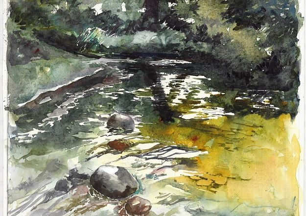 photo of a painting of Lourens River